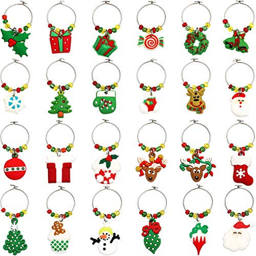 24 Pieces Christmas Goblet Drink Markers Wine Glass Charms Drink Tags Wine Glass Tags with Simple Buckle Design for Party Favors Family Gathering