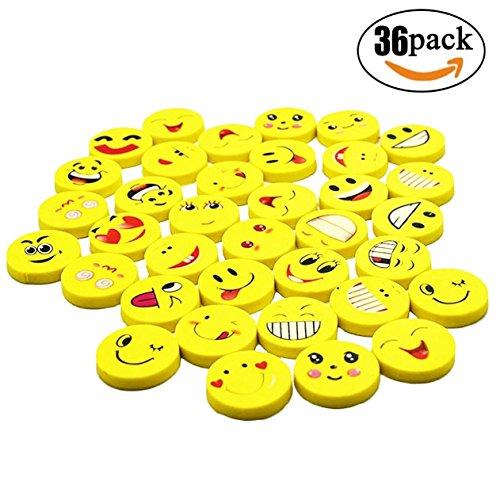 Cheap  BUSHIBU 36Pcs Yellow Color Round Emoji Face Erasers(Random delivery combination expression)