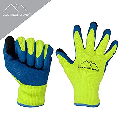 Blue Ridge Brand™ Winter Latex Work Gloves - 7 Gauge Polyester Cold Weather Glove - High Visibility Rubber Grip Gloves - Men's Work Gloves Value Pack