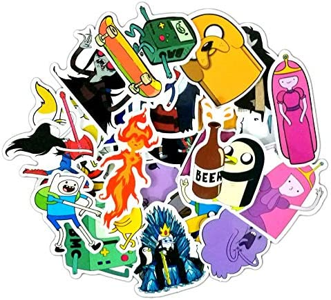 PANGUN 29Pcs Adventure Time Cartoon PVC Autocollant Imperm/éable /À L Eau pour Mur Voiture Ordinateur Portable V/élo Bagage Autocollant