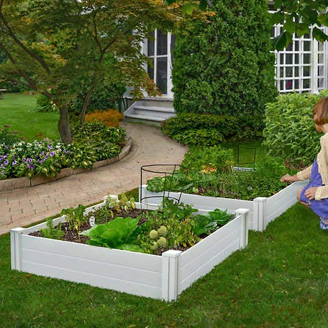 New England Arbors, White Vinyl Raised Garden Bed 2- Pieces Premium White Vinyl. 48 L X 48 W X 11 H Each. Can Be Joined to Create Larger Be