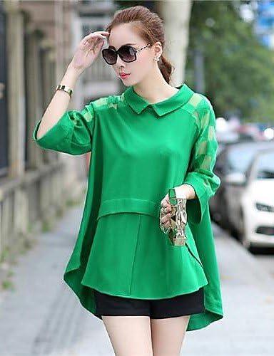 De la Mujer sólido color azul/negro/verde blusa, camisa manga ...