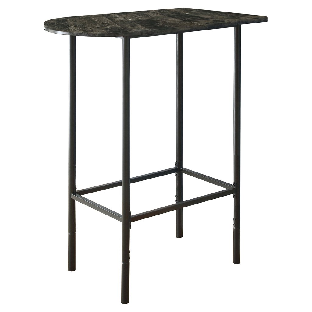 Monarch Specialties Grey Marble and Charcoal Metal 24-Inch by 36-Inch Spacesaver Bar