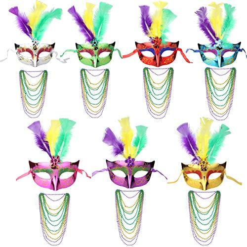 ECOSCO Women Mardi Gras Venetian Ball Party Masks Bulk 7pcs Masquerade Masks 7 Sets Mardi Gras Necklaces]()