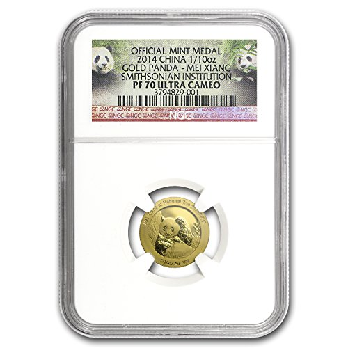 2014 CN China 1/10 oz Proof Gold Panda PF-70 NGC (Mei Xiang) Gold PF-70 NGC