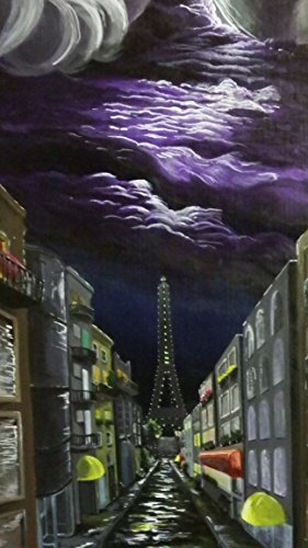Passion Road-acrylic painting of Paris France city street with purple storm clouds-original artist - France Signed
