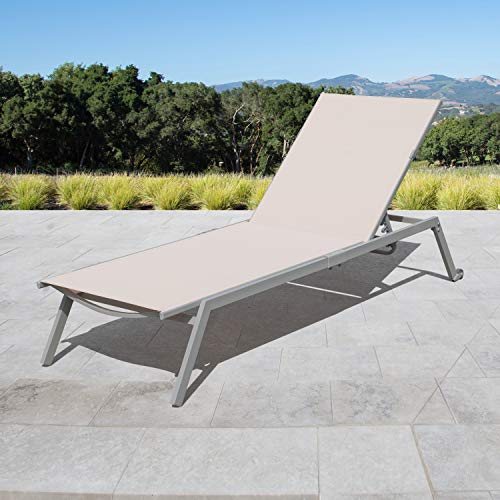 Corvus Torino Adjustable Sling Fabric Patio Chaise Lounge beige – 1 lounge