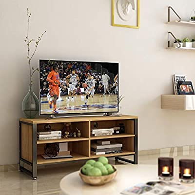 """TV Stand DEWEL 47"""" Console Stand with Storage Media Stand Home Living Room Furniture with 4 Open Storage Shelves"""