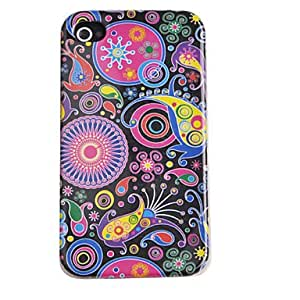 GJYJoyland Black Printing Flower Pattern ABS Back Case with Dustproof Plug for iPhone 4/4S