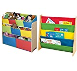 Combo of Cute Fun and Exciting Multi-color Deluxe Storage Toy Box Containers and Book Rack Chest Organizer Bins for Kids Pet Toys, Cars, Books, Magazines and Accessories - Children Home Box Units Solutions