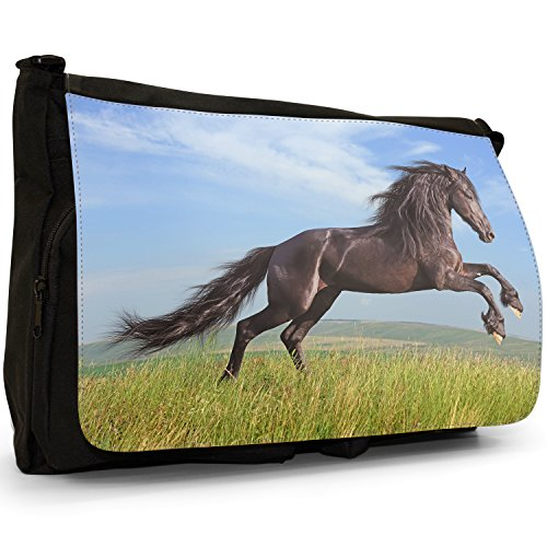 In Canvas Laptop Beauty Bag Strong Horse Stallion Field Large Wild Black Messenger School Shoulder qY7xavvw