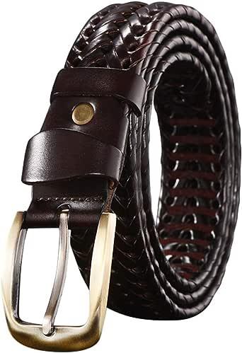 Yudesun Cinturón Trenzado Hombre - Hombres Cuero a Mano Trenzado ...