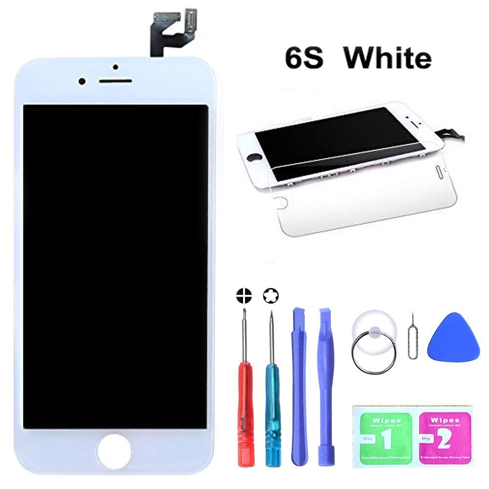 """HTECHY Compatible with iPhone 6s White Screen Replacement(4.7"""") - Replacement for iPhone 6s Digitizer LCD Touch Screen Display Assembly with Complete Repair Tools Kit and Screen Protector"""
