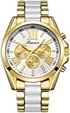 Fanmis Unisex Unique Roman Numeral Gold Plated Metal Nylon Link Analog Disply Quartz Watch White