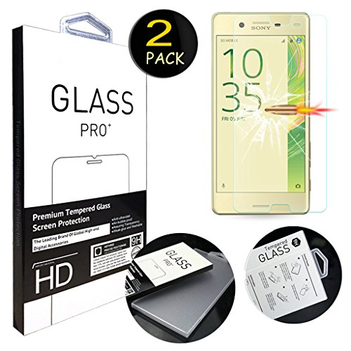 [2 Pack] Sony X Performance Screen Protector, ANGELLA-M HD [Crystal Clear] Tempered Glass Screen Protector for Sony Xperia X Performance F8132 (5.0