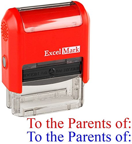 To the Parents of - ExcelMark Self-Inking Two-Color Rubber Teacher Stamp - Perfect for Grading Homework - Red and Blue Ink
