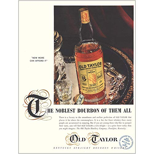 RelicPaper 1954 Old Taylor: Noblest Bourbon of Them All, Old Taylor Distillery Print Ad
