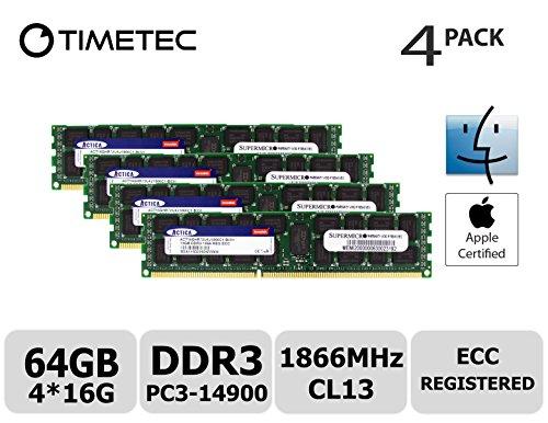 - Timetec Supermicro Apple 64GB Kit (4x16GB) DDR3 1866MHz PC3-14900 Registered ECC RDIMM Server Memory RAM Module Upgrade for Mac Pro Late 2013 A1481 MQGG2LL/A MD878LL/A ME253LL/A (64GB Kit (4x16GB))