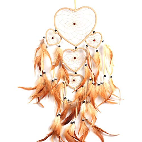 (Halloween Photo - 2 Colors Heart Dream Catcher Brown Red Wall Hanging With Feather Bead Ornament Decoration - White Decor Woven Desk Candle Terrarium Zodiac Kits Cloth Fruit Organizers File)