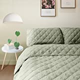 ALPHA HOME 2-Piece Diamond Bedspread Set Twin Size Bed Quilt Set Summer Blanket, Sage, Includes 1 Quilt, 1 Sham