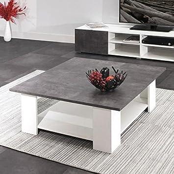 Lime Table Basse Carree Style Contemporain Blanc Mat Et Decor Beton
