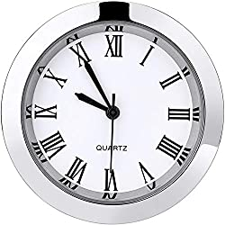 Hicarer 1-1/2 Inch (37 mm) Round Quartz Clock Insert with Roman Numerals Fit 35 mm Diameter Hole (Silver Bezel)