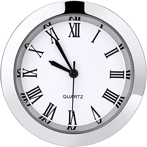 Hicarer 1-1/2 Inch (37 mm) Round Quartz Clock Insert with Roman Numerals Fit 35 mm Diameter Hole (Silver Bezel)