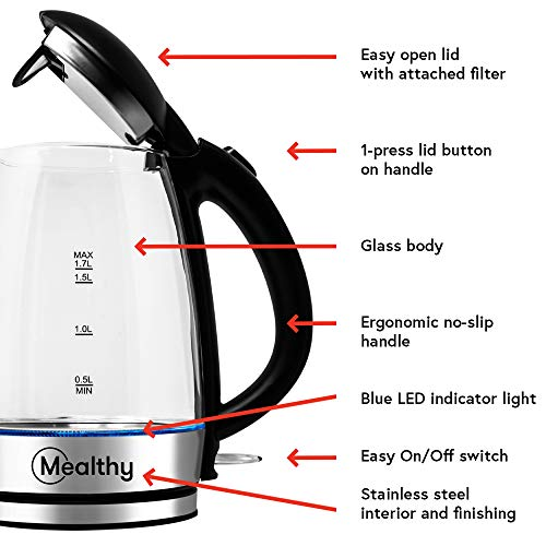 Mealthy MEALTHYKETTLE High-Quality 1.7 Liter Glass Electric Home Tea Boiler Kettle with Blue LED Light Indicator