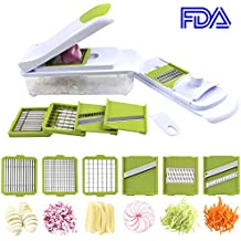 Smile mom 6 in 1 Plastic Kitchen Potato Onion Cucumber Carrot Chopper Dicer Grater Set for Vegetable, Julienne Slicer with Storage Box & Safe Top Cover, B427-A, Green-White