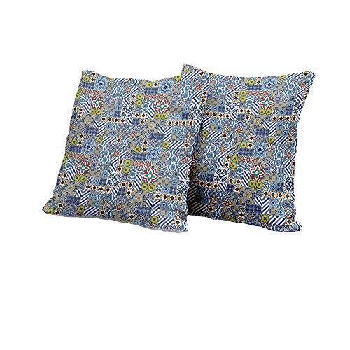 All of better Chaise Lounge Cushion Cover Moroccan,Gorgeous Middle Eastern Pattern Azulejo Ceramic Design with Geometric Elements,Multicolor Outdoor Pillow Covers 18x18 INCH 2pcs