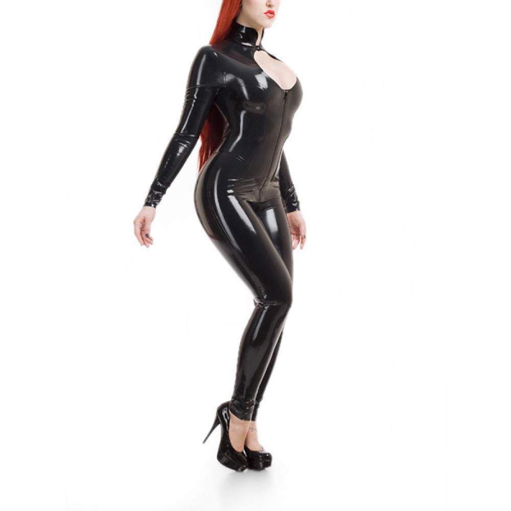 schwarz XXS Fontoys-pants Fitness-Hose Weiblicher Latex Catsuit Keyhole Bodysuit Front Zip Hochwertiges Latex Sexy Kostüm