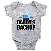 Daddys Backup Onesie Cute Police Rescue Worker Baby Bodysuit (Heather Grey, 6M)
