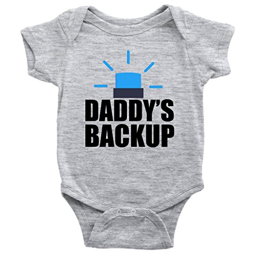 Daddys Backup Onesie Cute Police Rescue Worker Baby Bodysuit (Heather Grey, 6M)]()