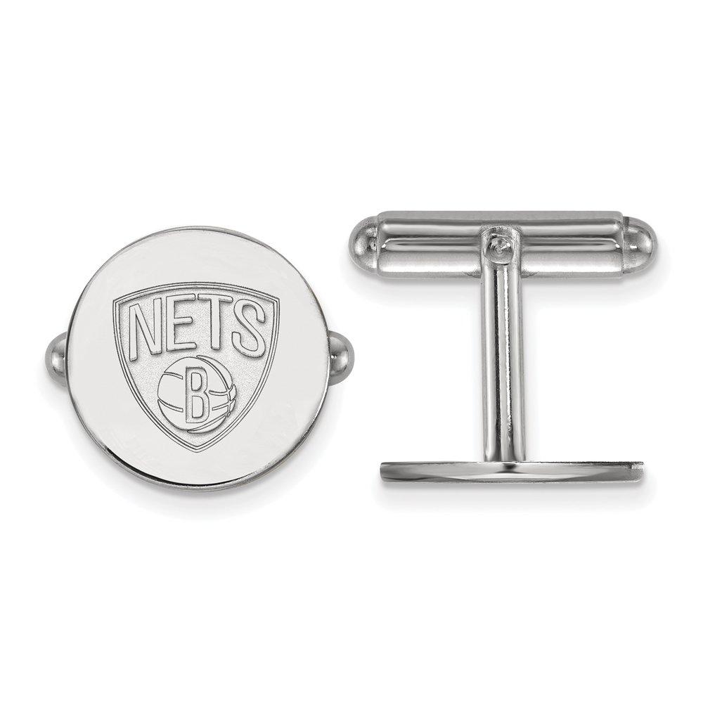 NBA Brooklyn Nets Cuff Links in Rhodium Plated Sterling Silver