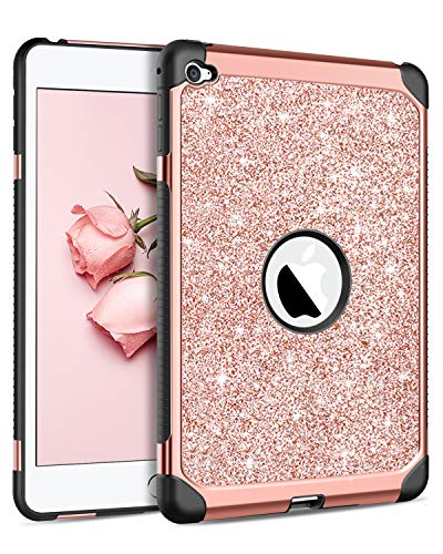 BENTOBEN iPad Mini 4 Case, Super Slim Glitter Bling Sparkly Dual Layer 2 in 1 Heavy Duty Rugged Hard PC Cover Soft TPU Bumper Shockproof Protective Cute Case for iPad Mini 4 (2015 Release), Rose Gold