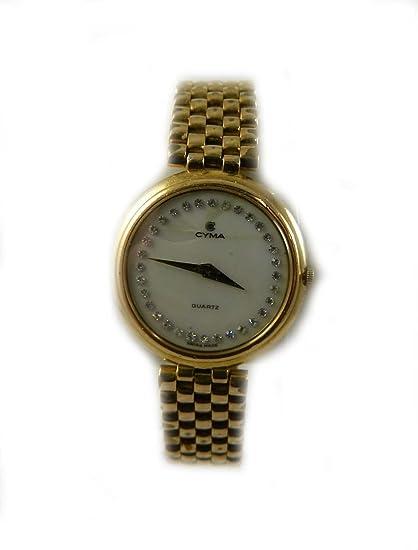 CYMA de mujer de oro y perlas de cuarzo reloj de DIAMANTE se enfrentaron a un amplio catálogo de dispositivos hecho en Suiza: Amazon.es: Relojes
