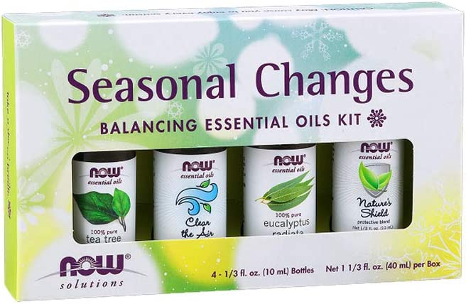 NOW Essential Oils, Seasonal Changes Balancing Aromatherapy Kit, 4x10ml Including Tea Tree, Eucalyptus Radiata, Clear the Air and Nature's Shield Oil Blend With Child Resistant Caps