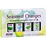 NOW Essential Oils, Seasonal Changes Balancing Aromatherapy Kit, 4x10ml Including Tea Tree, Eucalyptus Radiata, Clear…