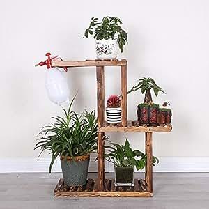 Antiseptic solid wood flower stands multilayer balcony living room shelf floor racks wheel movement-A