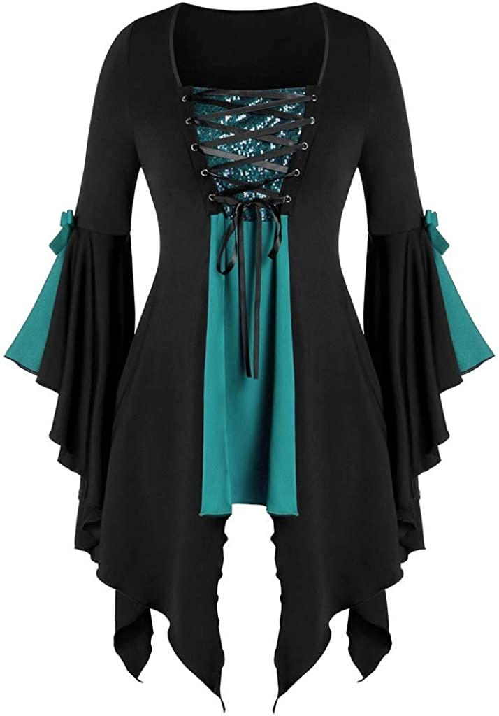 Womens Lace Up Gothic Tunic Tee Plus Size Bell Sleeve Tops Medieval Cosplay Costumes Victorian Fancy Coat