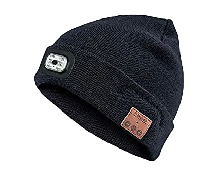 Amazon.com  GorgeousM Unisex Bluetooth Flashlight Beanie Cap Rechargeable LED  Knit Hat for Outdoor Activities bccb21b393b