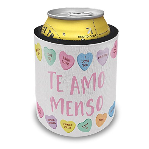 NEONBLOND Te Amo Menso Valentine's Day Conversation Hearts Border Slap Can Cooler Insulator Sleeve