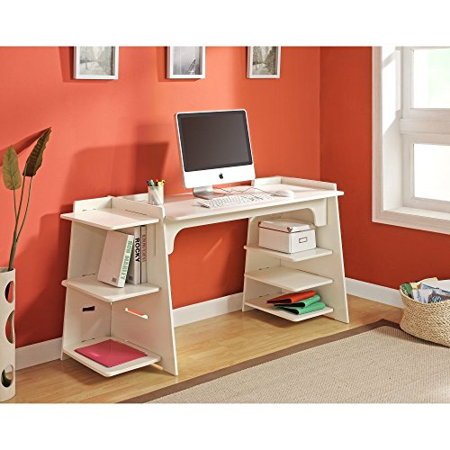 Modern Convertible Craft Desk with Large Shelving Accommodates Craft-Size Paper Made w/ Wood Solids/Veneers in White 48-72L x 24W x 31H in.
