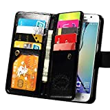 S6 Edge Plus Case, Joopapa Galaxy S6 Edge Plus Wallet Case,Pu Leather Case Magnet Wallet Credit Card Holder Flip Cover Case Built-in 9 Card Slots & Stand Case for Samsung Galaxy S6 Edge Plus (Black)