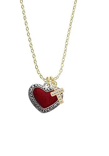 Translucide Rouge Avec Bordure Décorée Cœur Doré Croix Cristal 3q54ALRj