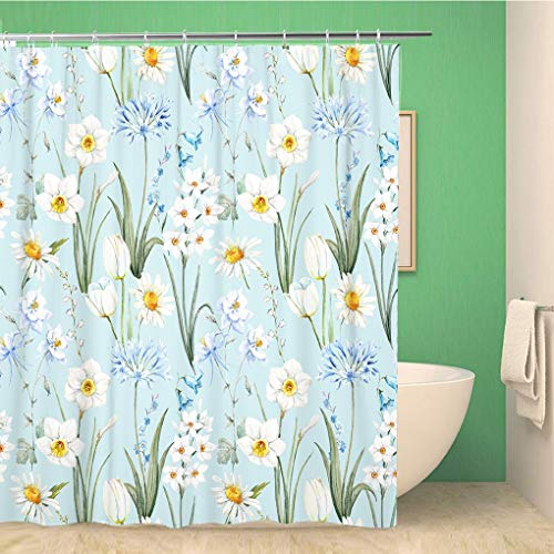Awowee Bathroom Shower Curtain Watercolor Botanical Floral Pattern Wallpaper Spring Daffodil Flowers Daisy White Polyester Fabric 60x72 inches Waterproof Bath Curtain Set with Hooks