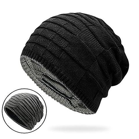 Unisex Soft Stretch Knit Beanie for Men Warm Slouchy Cap Trendy Chunky Ruffle Baggy Hat Casual Headwear - Yarn Fuchsia Plum