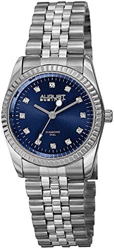 (August Steiner Women's AS8170BU Silver Quartz Watch with Blue Dial and Silver Bracelet)