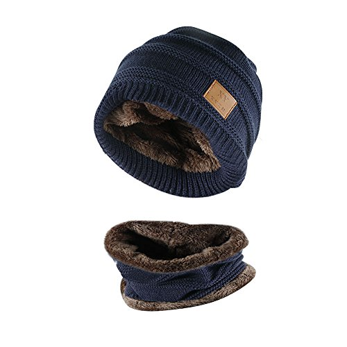 Kata Beanie Hat Scarf Set Thick Knit Hat Warm Fleece Lined Scarf Warm Winter Hat for Men & Women (Blue-New)