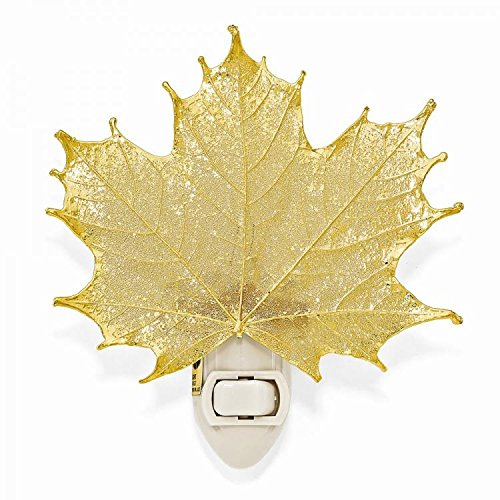 24k Gold Coated Real Sugar Maple Leaf Nightlight -Made in USA by The Rose Lady